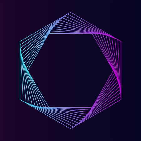 Abstract hexagon geometric element vector Çizim