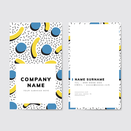 Colorful geometric Memphis style business card Illustration