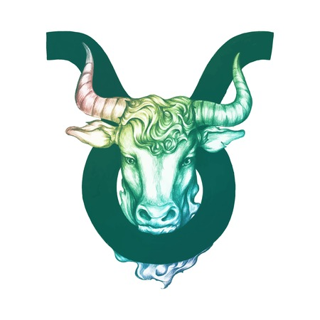 Hand drawn horoscope symbol of Taurus illustration Vettoriali