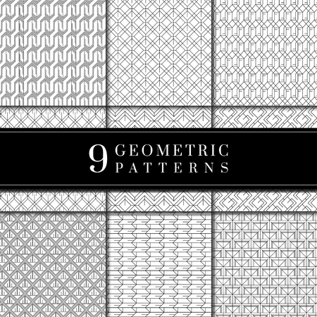Set of geometric patterned backgrounds vector