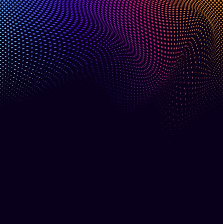 Vibrant halftone on black background vector Stock Illustratie