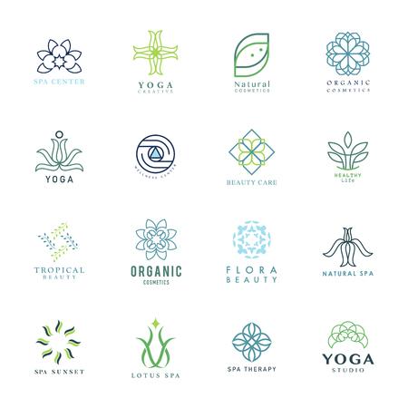 Satz des bunten Yoga- und Badekurortlogovektors Logo