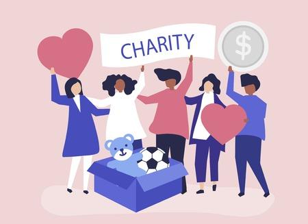 Mensen die vrijwilligerswerk doen en geld en spullen doneren aan een goed doel