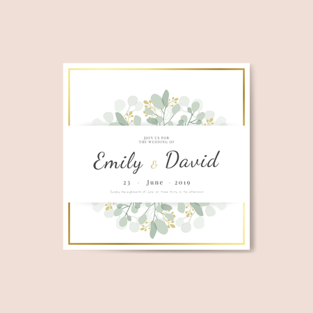 Floral wedding invitation square card template vector