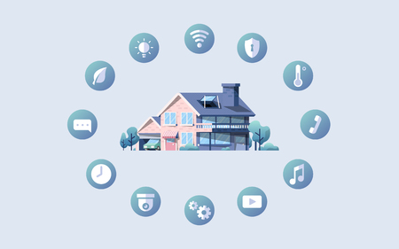 Smart home vector pack with icons Çizim