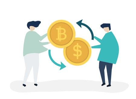 People exchanging bitcoin to dollars