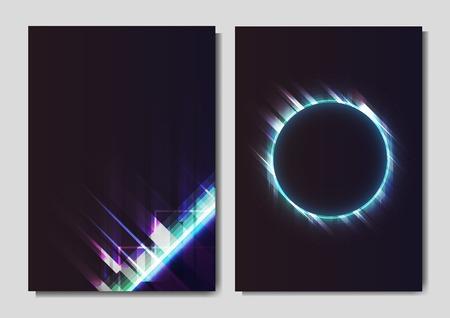 Gradient neon light poster vector set