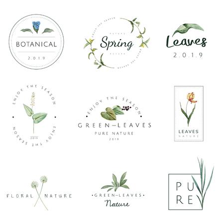 Ensemble de vecteurs de logo nature et plante