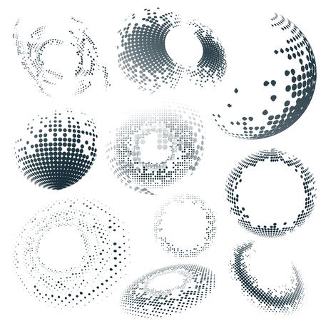 Black halftone badge on white background vector set