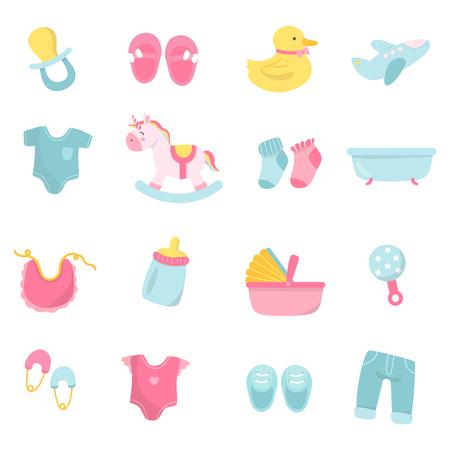 Ensemble de vecteurs de douche de bébé mignon