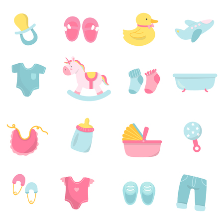 Set of cute baby shower vectors Stock Illustratie