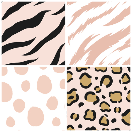 Set of seamless animal print pattern vectors Vettoriali