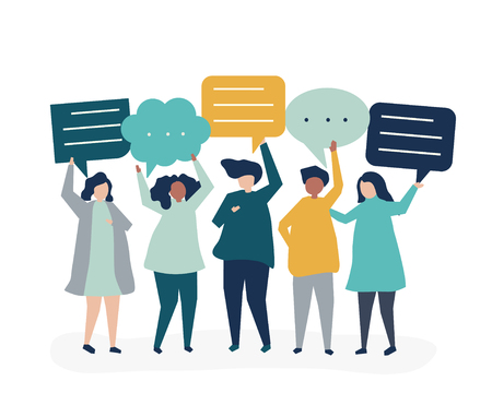 Ilustración de personaje de personas sosteniendo burbujas de discurso Ilustración de vector