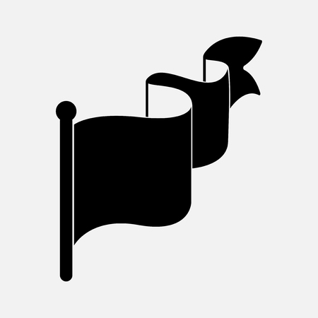 Wavy blank black flag vector