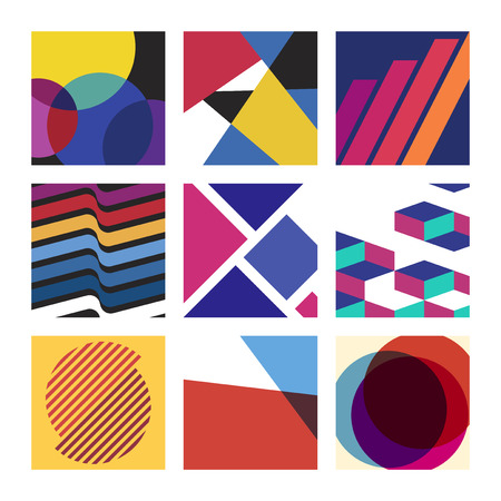 Colorful Swiss graphic design patterns collection Illustration