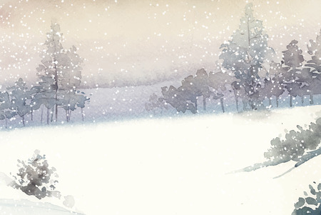 Illustration of a snowy view
