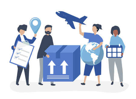 Character illustration of people with packages for shipment