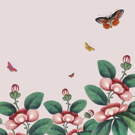 Peinture chinoise avec papier peint fleurs et papillons
