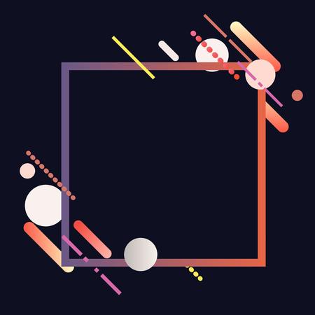 Modernes quadratisches Banner in bunter Rahmenillustration Vektorgrafik