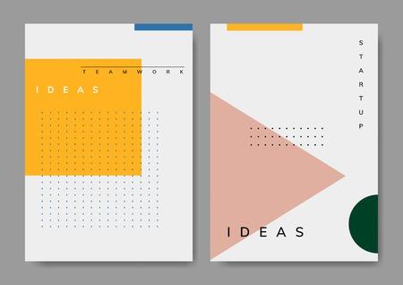 Set of minimal Memphis start-up poster vector Illustration