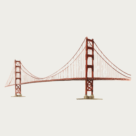The Golden Gate Bridge watercolor illustration Vettoriali