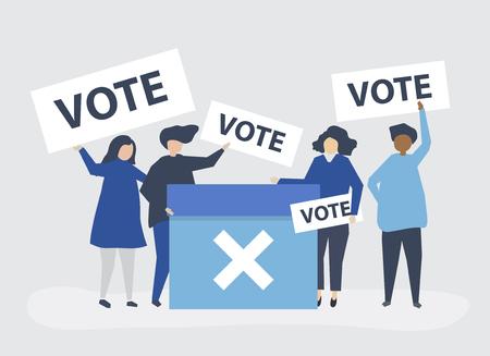 Ilustración de personaje de personas con iconos de voto