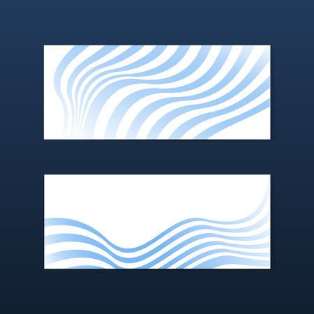 Blue and white striped abstract banner vectors