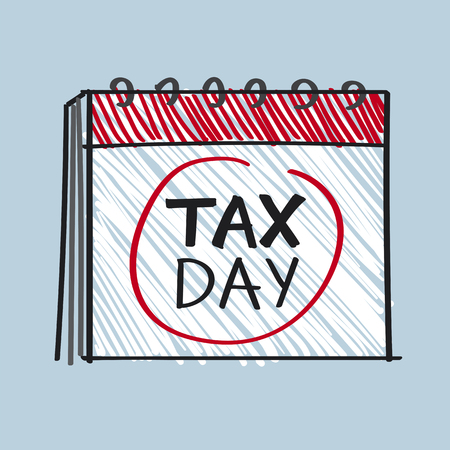 Calendar with the word tax day illustration  イラスト・ベクター素材