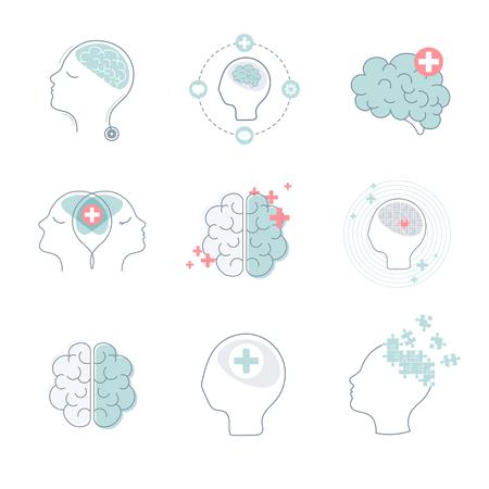 Brain and mental health icons vector set Stock Illustratie