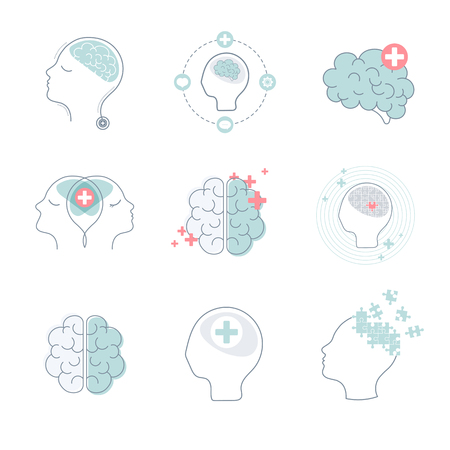Brain and mental health icons vector set Illustration