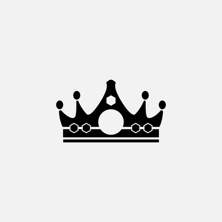 Black single royal crown vector Illustration