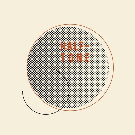 Black vintage halftone badge on beige background vector Ilustrace