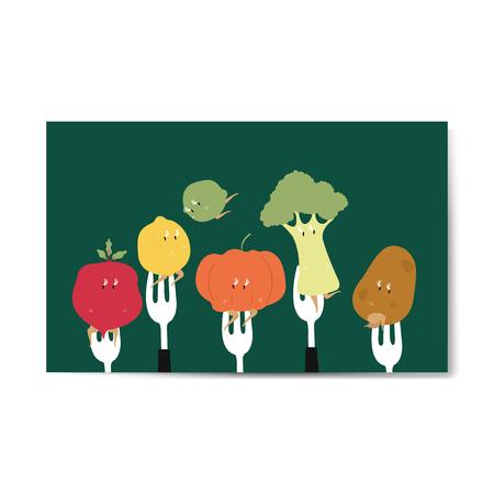 Fresh organic vegetable cartoons on forks