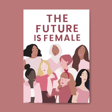 El futuro es vector femenino. Ilustración de vector