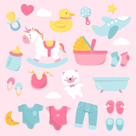 Set van schattige baby shower vectoren
