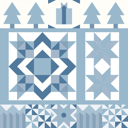Blue Christmas tiles geometrical design vector