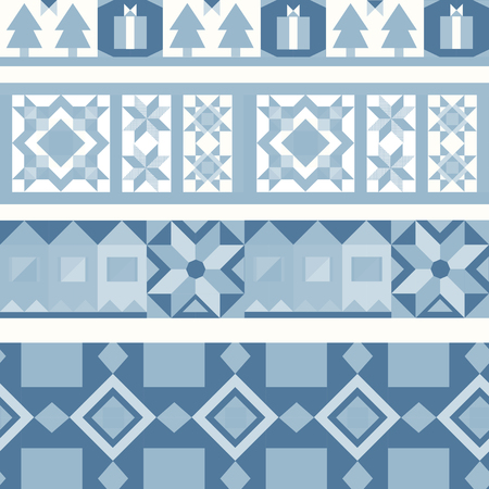 Blue Christmas tiles geometrical design vector