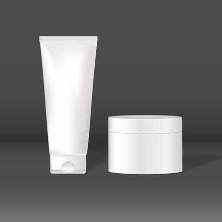 Set of white package mockups for skin care vector Illustration