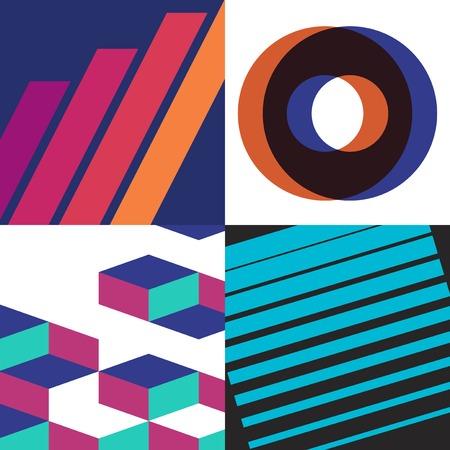 Colorful Swiss graphic design patterns collection Ilustração