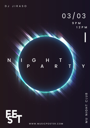 Night party music poster vector Illustration