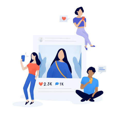 Users following and unfollowing vector Illustration