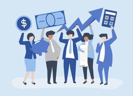 Gente di affari che tiene illustrazione di concetto di crescita finanziaria