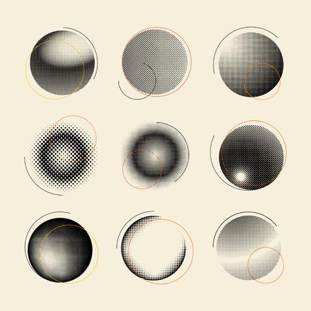 Black vintage halftone badge on beige background vector set Vector Illustration