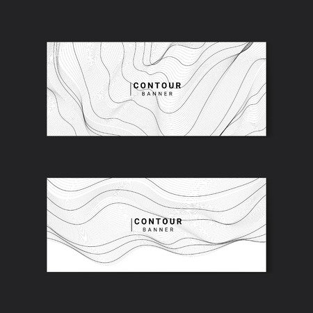 Black and white abstract map contour lines banners set