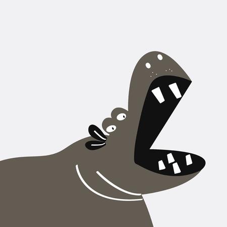 Cute hippopotamus cartoon vector design Illustration