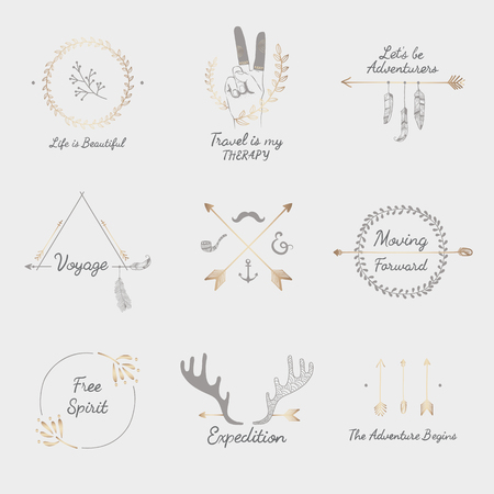 Travel quotes with hand sketched badges ornament vector set