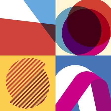 Colección colorida de patrones de diseño gráfico suizo Ilustración de vector