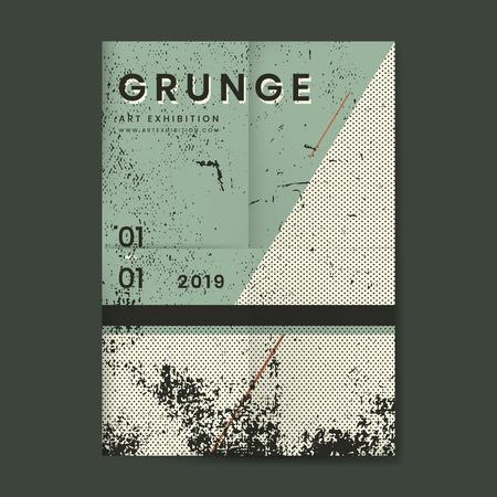 Affiche texturée en détresse vert pin grunge Vecteurs