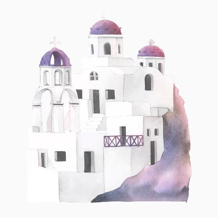 Santorini Cycladic houses watercolor illustration Illustration