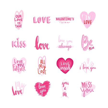 Collection of valentines day typographies Stock Vector - 125971084
